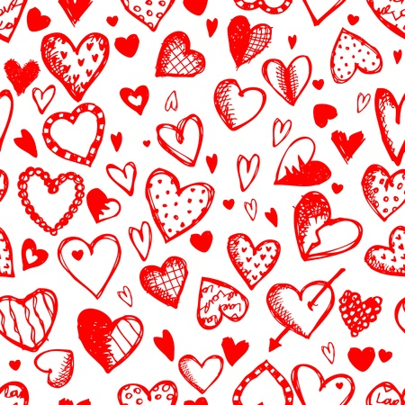 Seamless pattern with valentine hearts, sketch drawing for your design Illustration