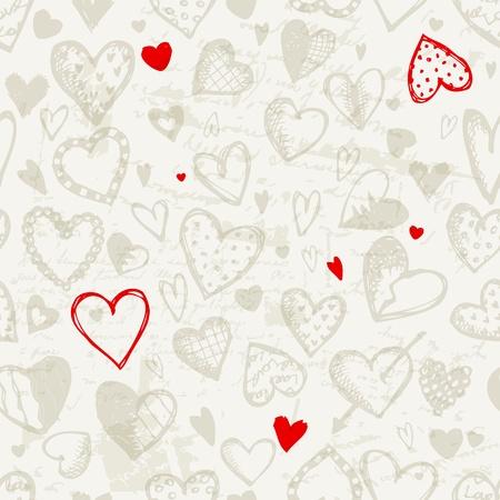 love wallpaper: Patr�n sin fisuras con el coraz�n de San Valent�n, el dibujo boceto de su dise�o