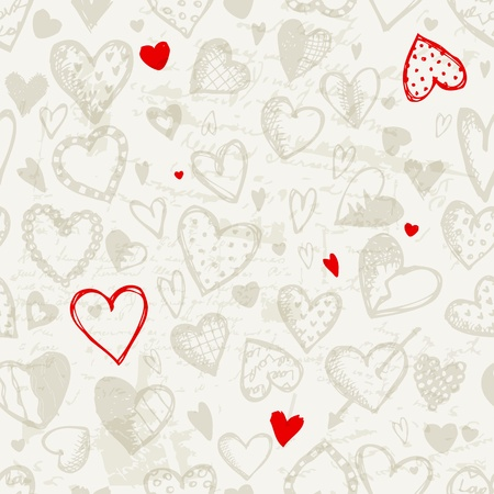 heart shape hands: Seamless pattern with valentine hearts, sketch drawing for your design Illustration