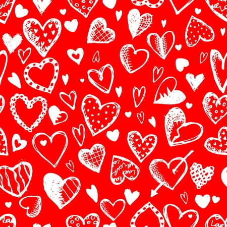 Seamless pattern with valentine hearts, sketch drawing for your design Vector