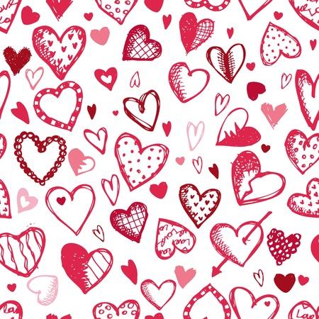 Nahtlose Muster mit Valentine Hearts, Skizze, Zeichnung für Ihre Konstruktion