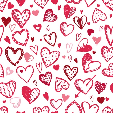 heart arrow: Seamless pattern with valentine hearts, sketch drawing for your design Illustration