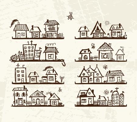 Schets van leuke huizen op de planken voor uw ontwerp