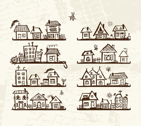 villages: Sketch of cute houses on shelves for your design