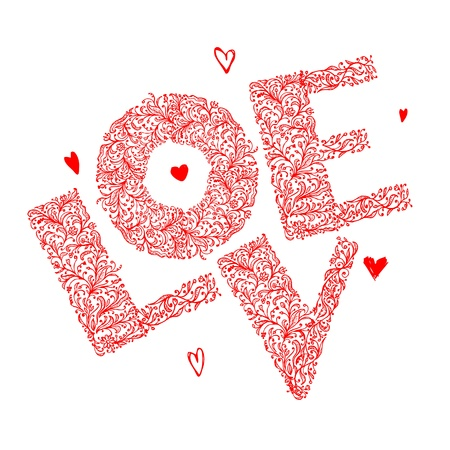 The word Love with floral ornament for your design Stock Vector - 12397275