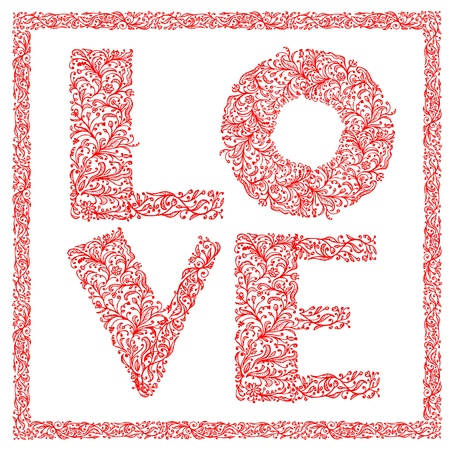 The word Love with floral ornament for your design Stock Vector - 12335056