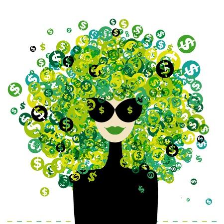 signos de pesos: Retrato de mujer con signos de d�lares peinado para su dise�o