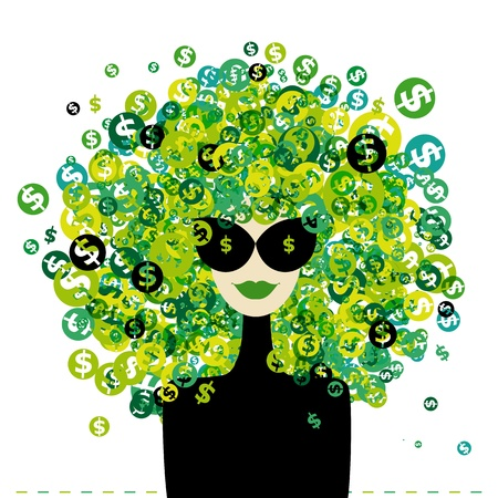 Woman portrait with dollar signs hairstyle for your design Vector