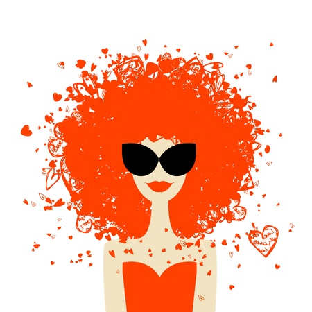 vintage art: Woman portrait with orange hairstyle, summer style  for your design  Illustration