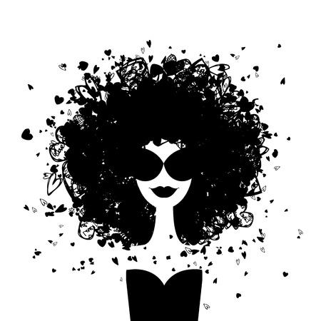 black girl: Mode Frau Porträt für Ihr Design Illustration