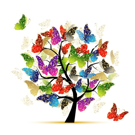 tree texture: Art tree with butterflies for your design Illustration