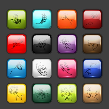 web button: Set of glossy button icons for your design Illustration