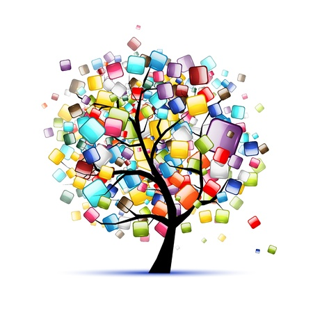 Web buttons glossy on tree for your design Stock Vector - 12397338