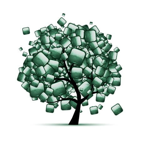 malachite: Green stone tree for your design Illustration