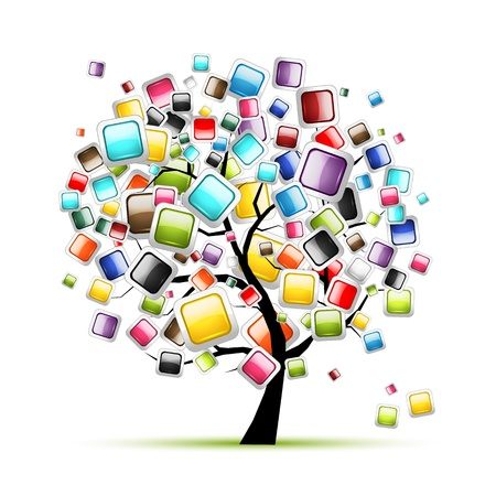 digital frame: Web buttons glossy on tree for your design