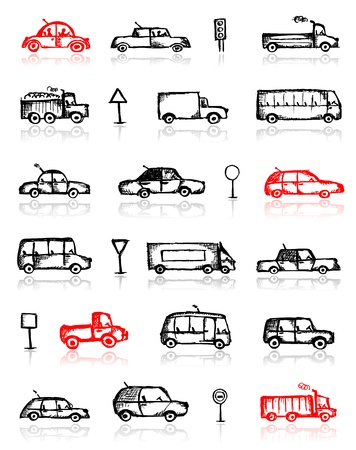 old truck: Set of cars sketch and traffic signs for your design Illustration