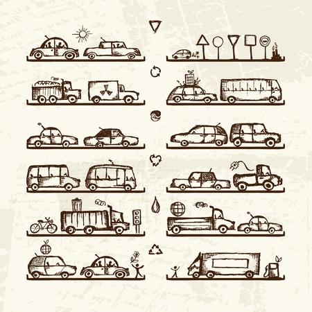 motor de carro: Juego de coches y señales de tráfico en las tiendas, boceto de su diseño Vectores