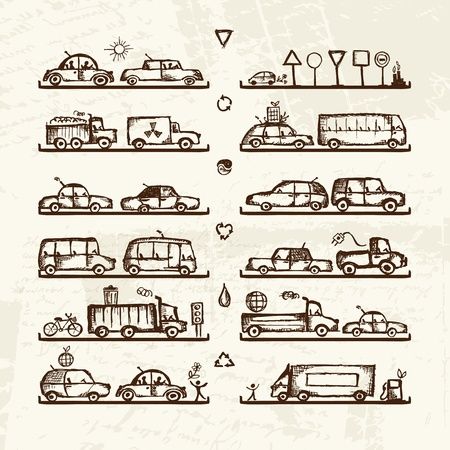 minivan: Set of cars and traffic signs on shop shelves, sketch for your design