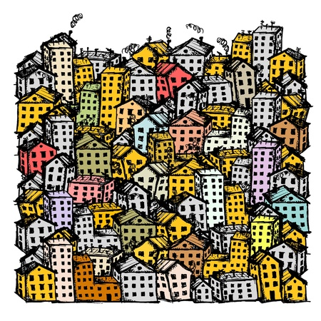 city view: City sketch, background for your design