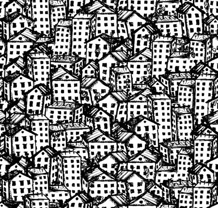 tile roof: Citt� schizzo, seamless sfondo per il tuo design