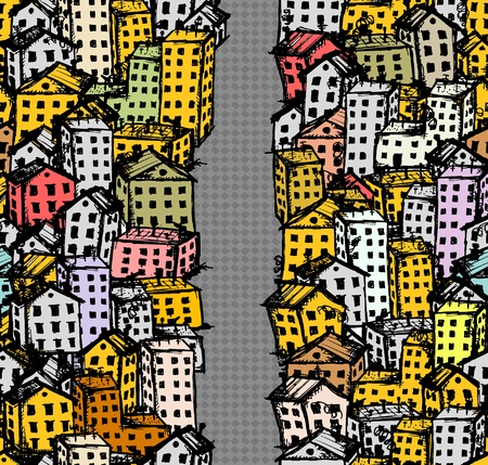 City street sketch, seamless background for your design Stock Vector - 12397352