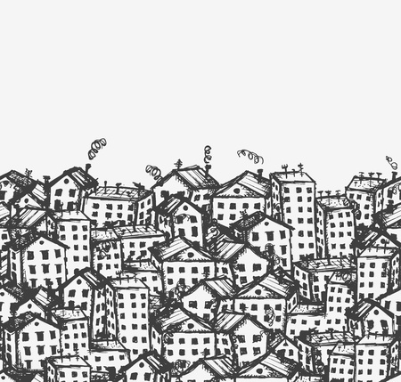 City sketch, seamless background for your design  Vector