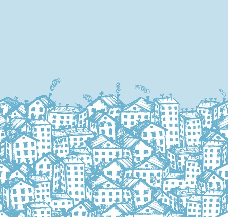 City sketch, seamless background for your design Stock Vector - 12397314