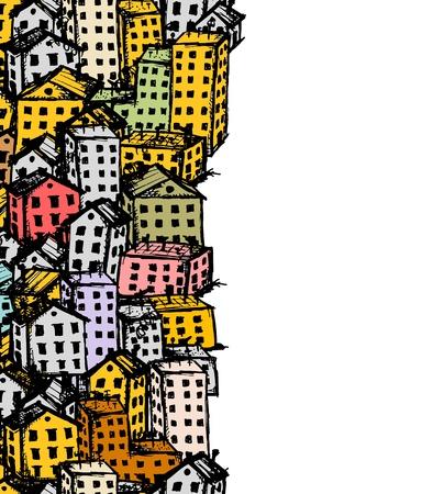 Stad schets, naadloze achtergrond voor uw ontwerp