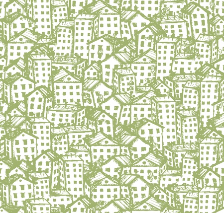 roof tiles: City sketch, seamless background for your design