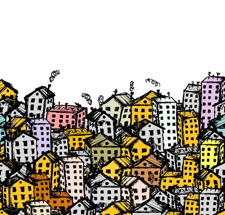 City sketch, seamless background for your design Stock Vector - 12397315