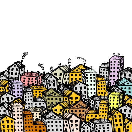 city silhouette: City sketch, background for your design