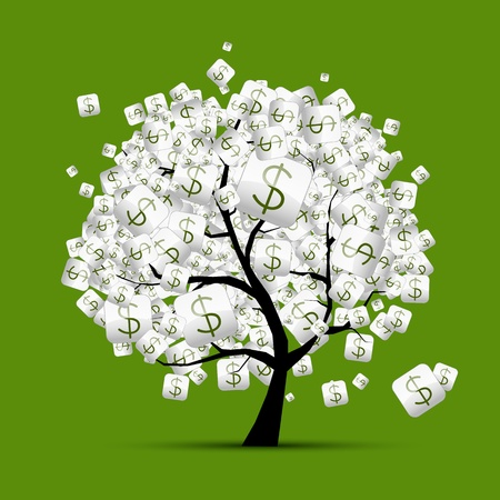 cuenta bancaria: El dinero concepto de �rbol con signos de d�lares para su dise�o Vectores