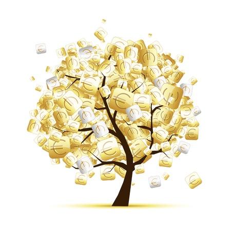 El dinero concepto de árbol con señales de euros para el diseño de su