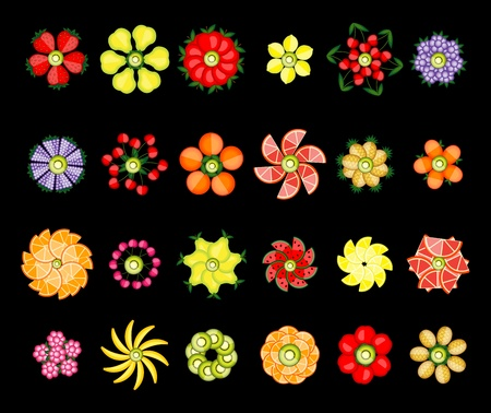 green apple slice: Flower design set made from fruits