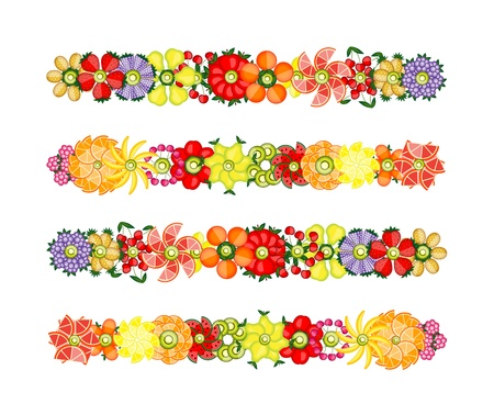 blueberries: Flower design set made from fruits