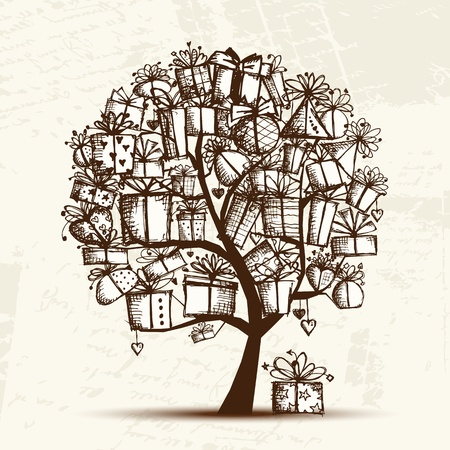 sketch: Schets boom met geschenkdozen voor uw ontwerp Stock Illustratie