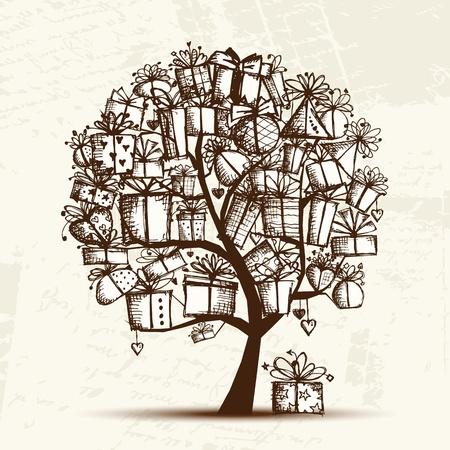 arboles de caricatura: Sketch �rbol con cajas de regalo para su dise�o