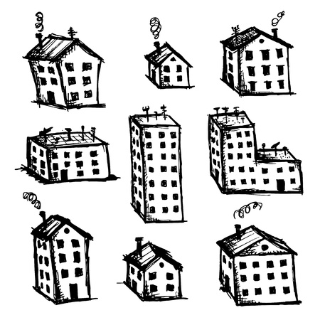 small country town: Set of houses sketch for your design Illustration