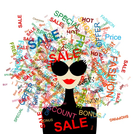 I love sale! Fashion woman with shopping concept for your design Stock Vector - 12397330