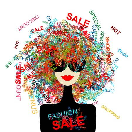 retail sales: I love sale! Fashion woman with shopping concept for your design Illustration