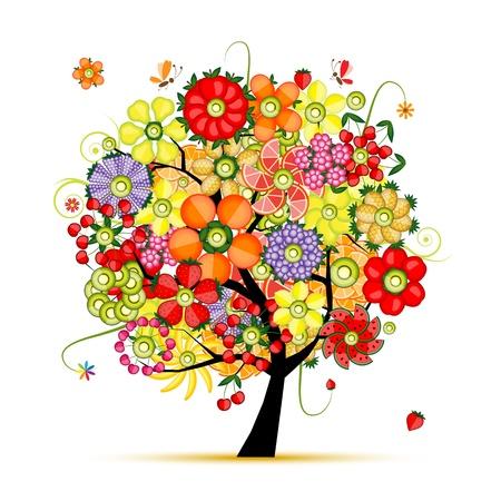Art bloemen boom bloemen gemaakt van vruchten Vector Illustratie