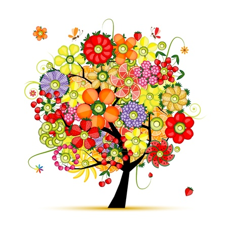 orange blossom: Art floral tree  Flowers made from fruits Illustration