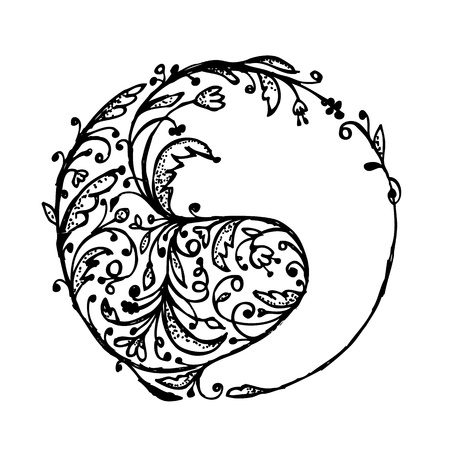 yin yang: Yin yang sign, sketch for your design