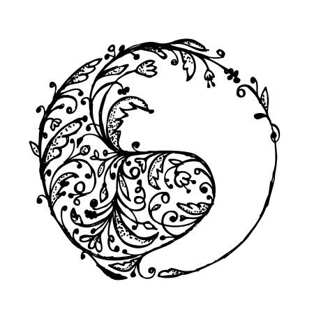 yang yin: Yin yang signo, boceto de su dise�o Vectores