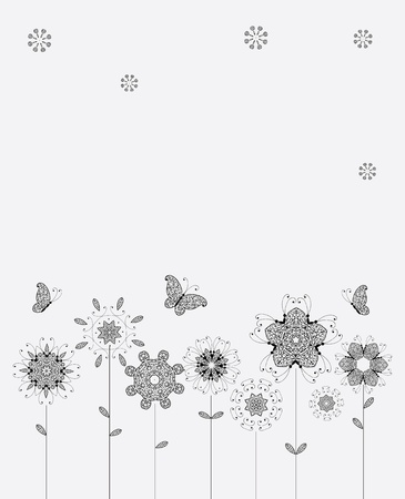 Spring meadow, flowers and butterflies for your design Vector