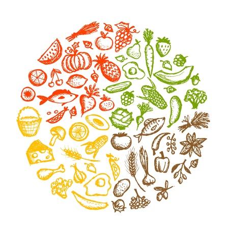 Gezonde voeding achtergrond, schets voor uw ontwerp Vector Illustratie