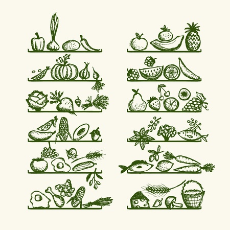 onions: Healthy food on shelves, sketch for your design Illustration