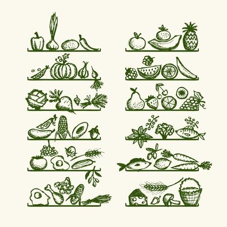 La comida sana en los estantes, boceto de su diseño