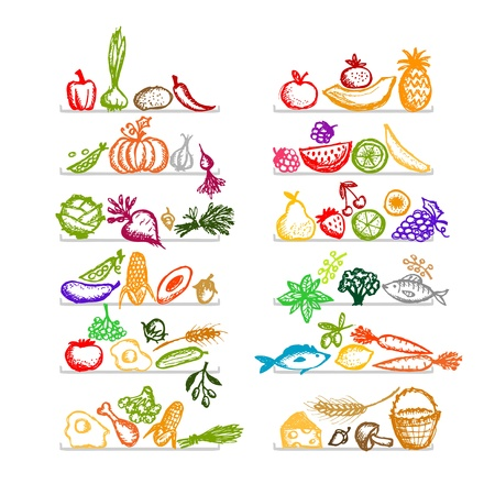 Healthy food on shelves, sketch for your design Vector