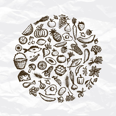 Healthy food background, sketch for your design Vector
